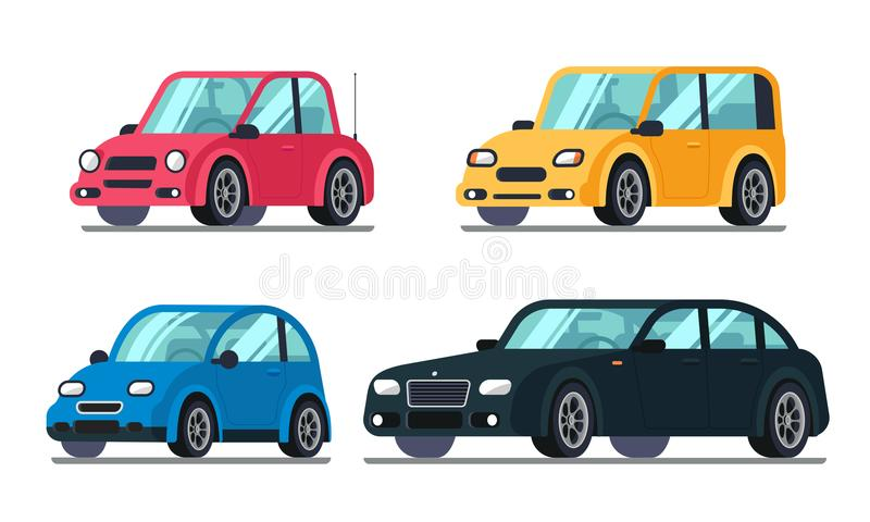 Различные плоские автомобили Дешевый автомобиль на колесах, suv пассажира седана семьи вектор корабля гибридного роскошный наград иллюстрация штока