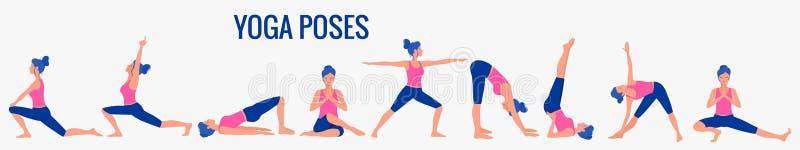 Различные позы йоги Иллюстрация женского йоги бесплатная иллюстрация