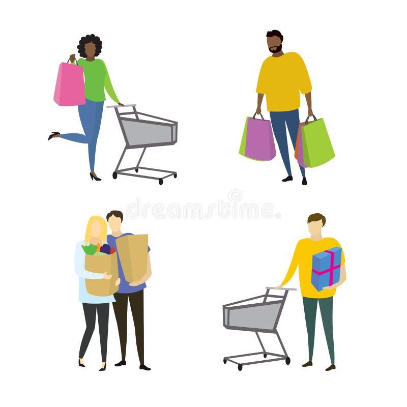 Различные покупатели людей с shopiing сумками бесплатная иллюстрация