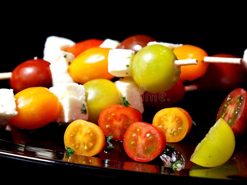 Различные протыкальники томата и моццареллы стоковое изображение rf