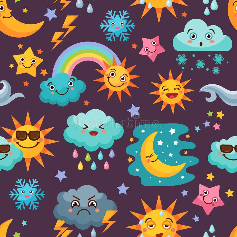 Различные смешные установленные значки погоды картина шаржа безшовная бесплатная иллюстрация