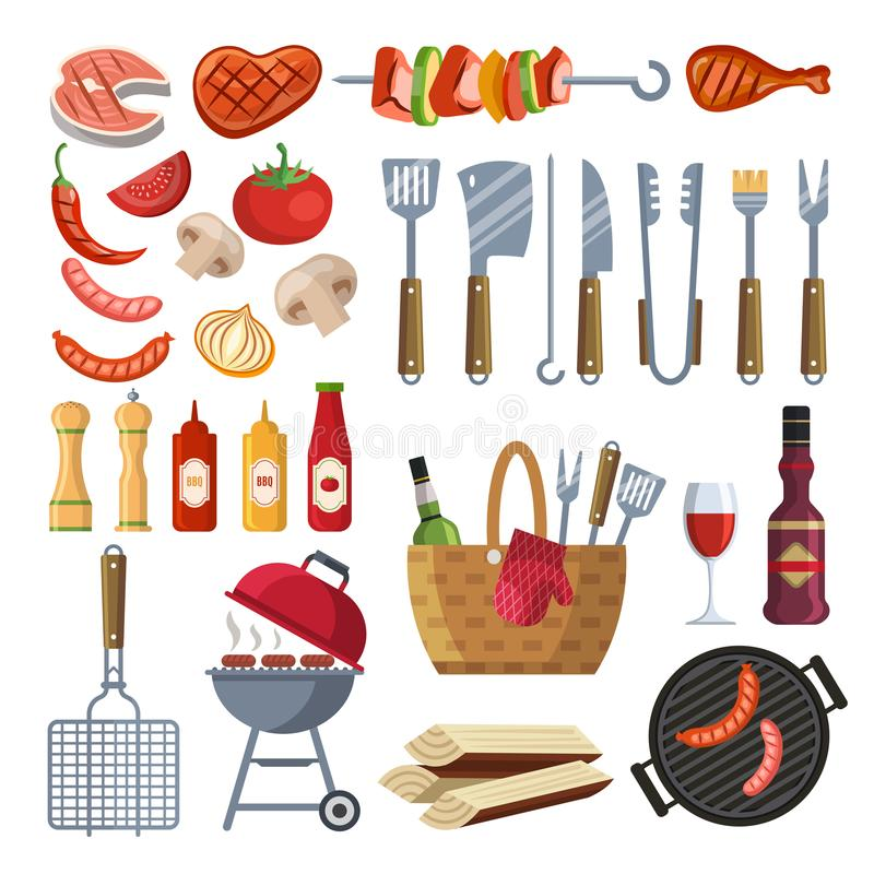 Различные специальные инструменты и еда для барбекю party Зажаренные овощи, мясо, стейк и сосиска бесплатная иллюстрация