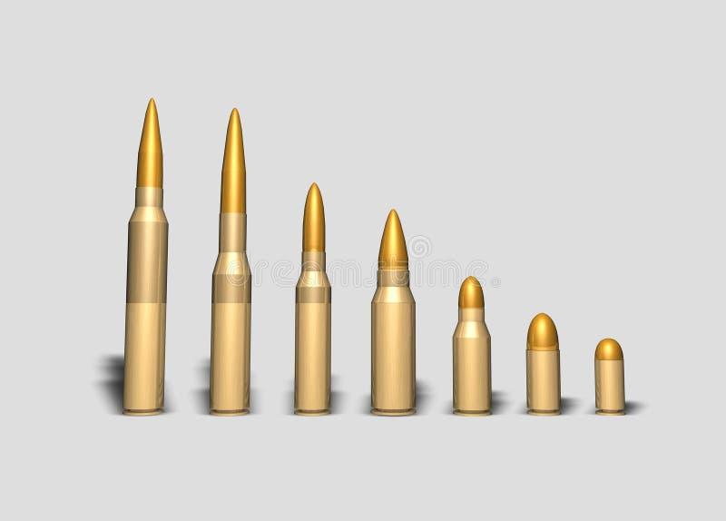 Различные типы пуль иллюстрация штока