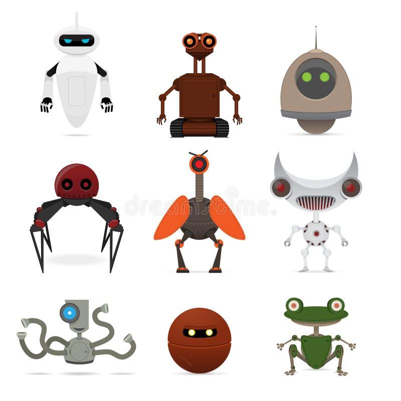 различные установленные роботы иллюстрация штока