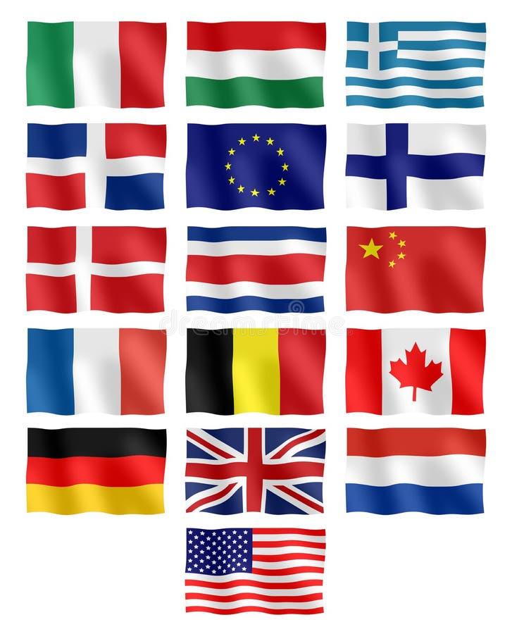 различные флаги иллюстрация вектора