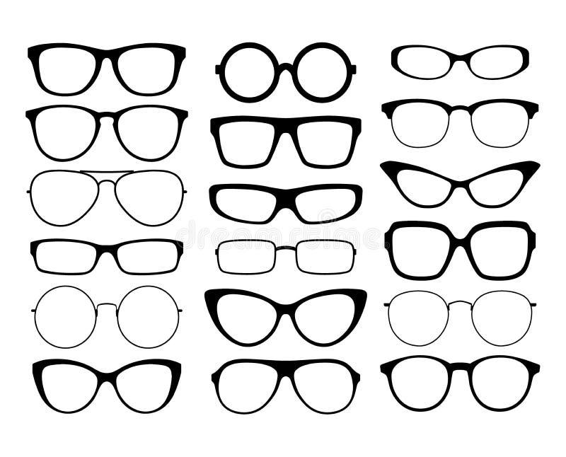 Различные черные стекла силуэта Рамки солнечных очков иллюстрация штока