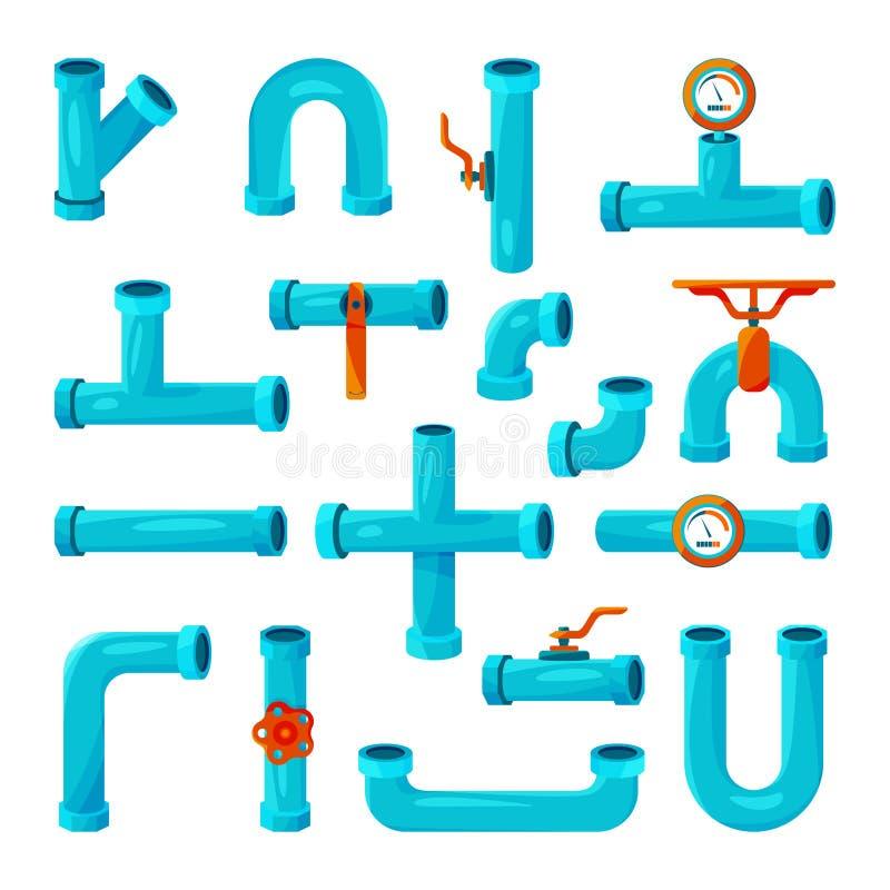 Различные элементы для трубопроводов Счетчик, счетчик воды, прокладки вектор установленный иконами бесплатная иллюстрация