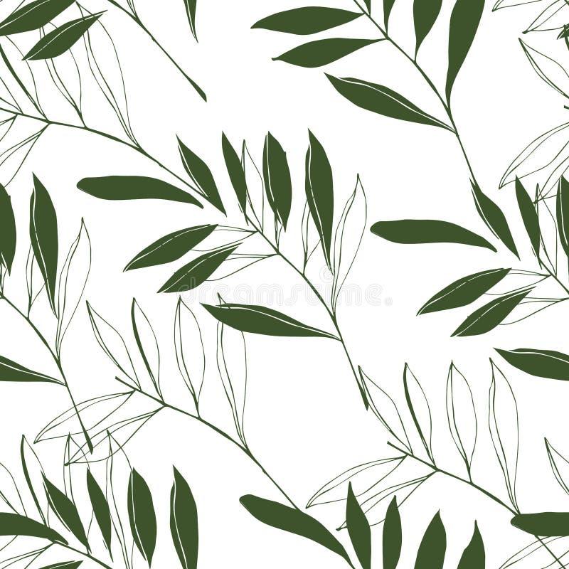 различные элементы листвы, тропические листья зеленого цвета на белой предпосылке бесплатная иллюстрация