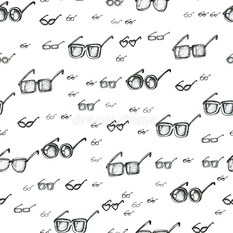 Различные eyeglasses печатают безшовную картину, руку нарисованный вектор стиля doodle Черно-белая иллюстрация эскиза квадрат иллюстрация штока