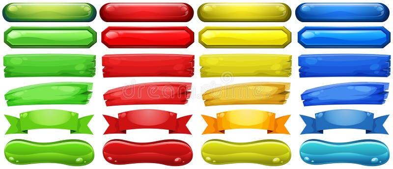 Различный дизайн кнопок в 4 цветах иллюстрация вектора