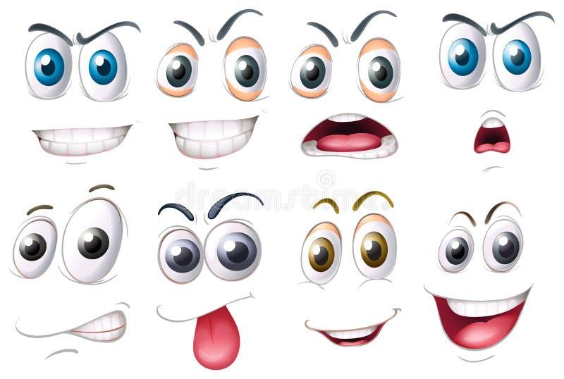 Различный комплект глаз с эмоциями иллюстрация вектора