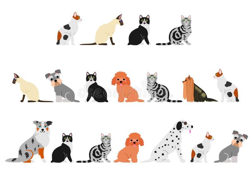Различный комплект границы котов и собак бесплатная иллюстрация