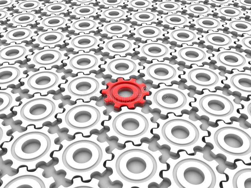 различный красный цвет шестерни иллюстрация вектора