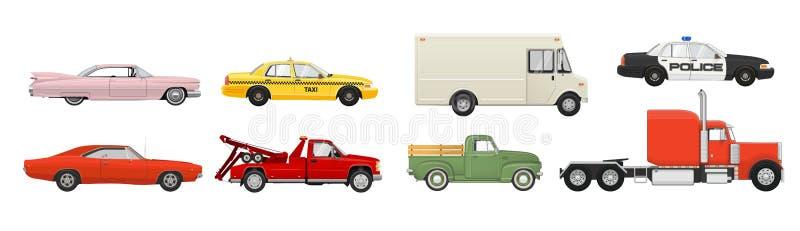 Различный набор автомобилей Корабли взгляда со стороны также вектор иллюстрации притяжки corel иллюстрация штока