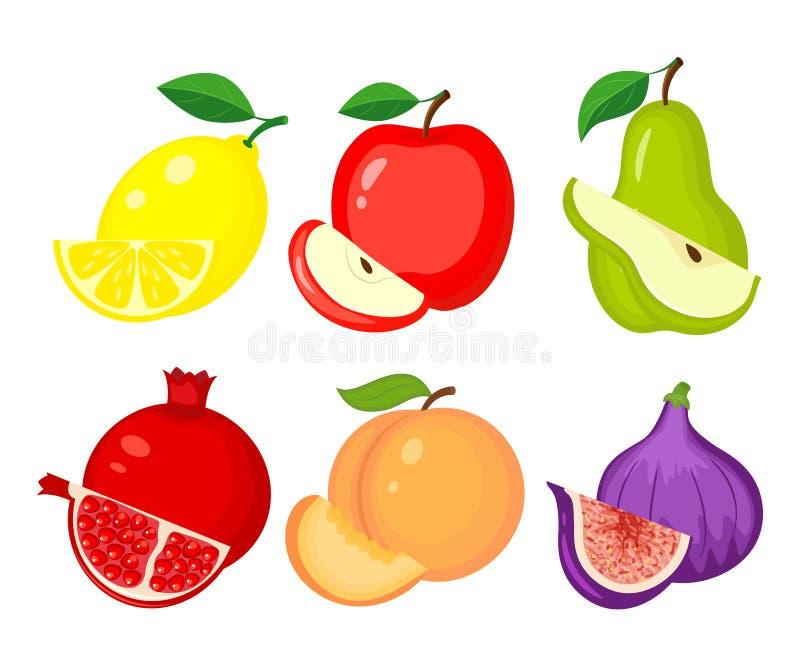 различный плодоовощ fruits комплект померанца лимона кивиа грейпфрута Лимон, яблоко, груша, гранатовое дерево, персик, бесплатная иллюстрация