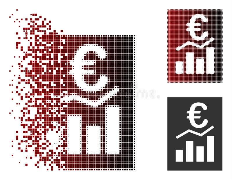 Разложенный значок отчете о продажи евро полутонового изображения пиксела бесплатная иллюстрация