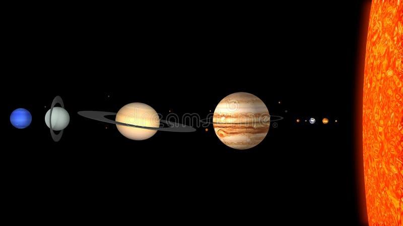 Размер солнечной системы стоковое фото rf