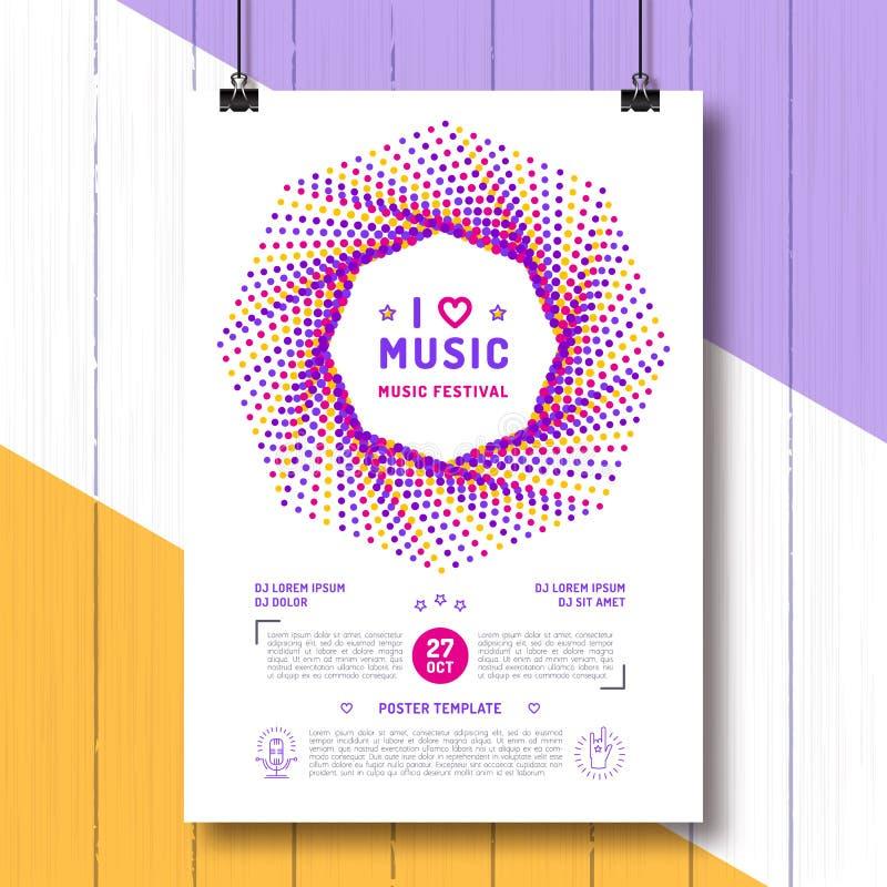 Размер шаблона A4 плаката партии музыкального фестиваля Приглашение искусств рогульки, события, классика, электронные или трясут, иллюстрация вектора
