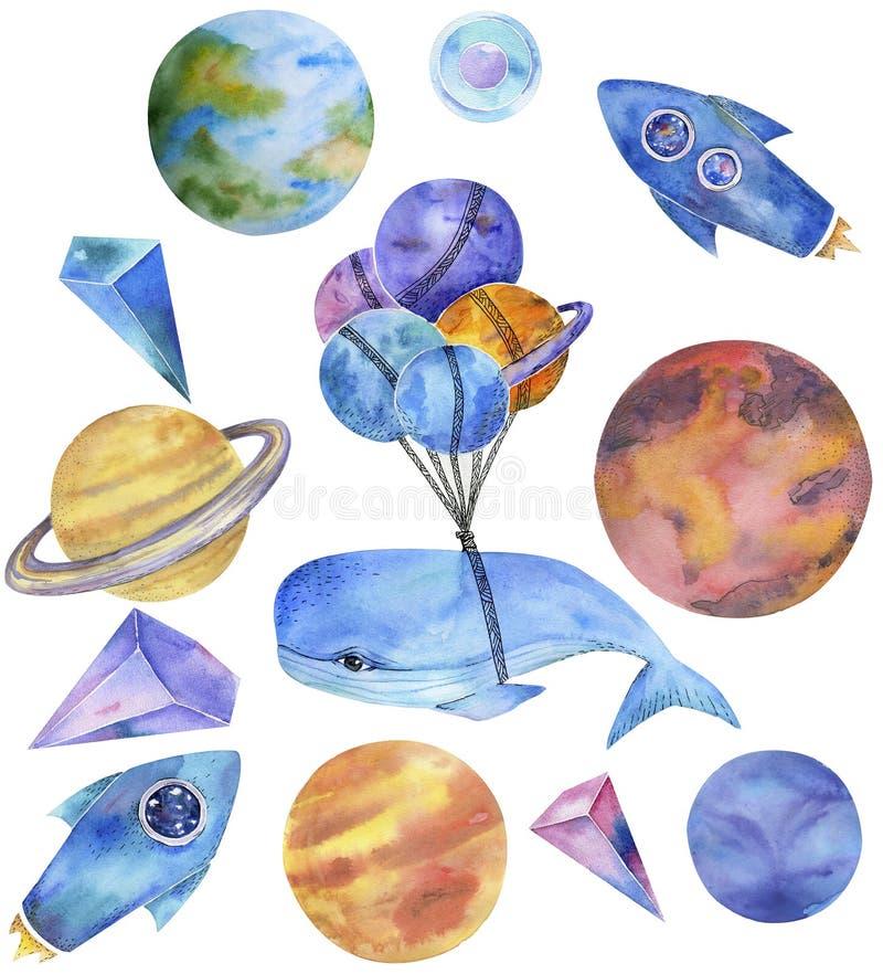 Разметьте кита фантазии акварели кита на солнечной системе млечного пути летая голубая иллюстрация g чертежа характера земли Раке бесплатная иллюстрация