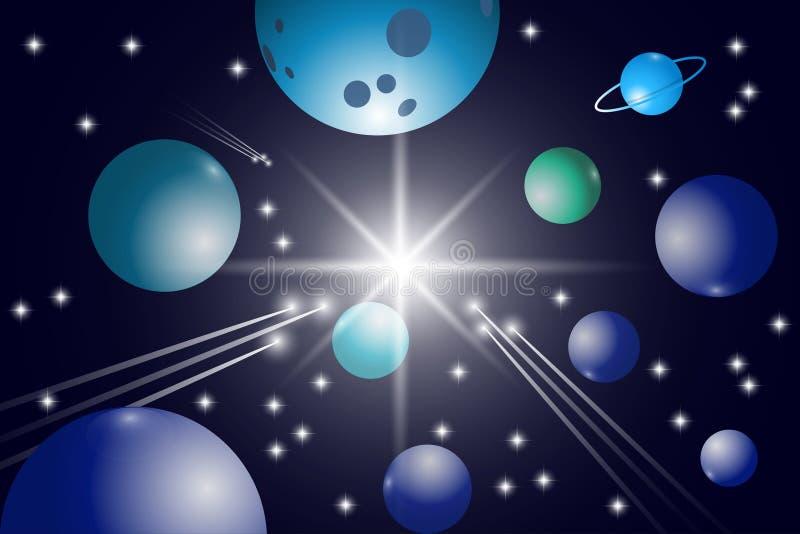 Разметьте предпосылку с звездами, планетами и кометами иллюстрация вектора