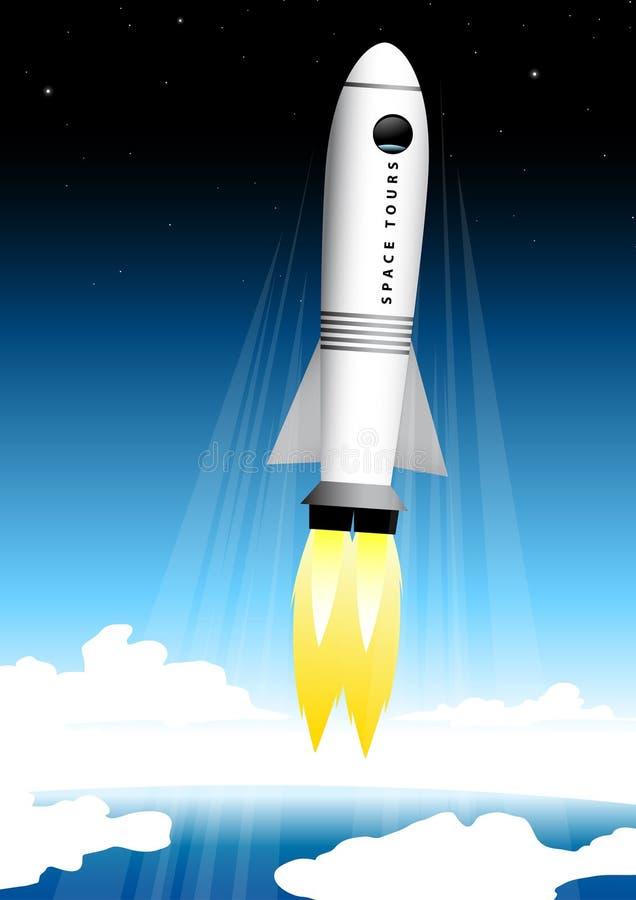 Разметьте туристскую ракету взрывая на стартовой площадке в космос иллюстрация штока