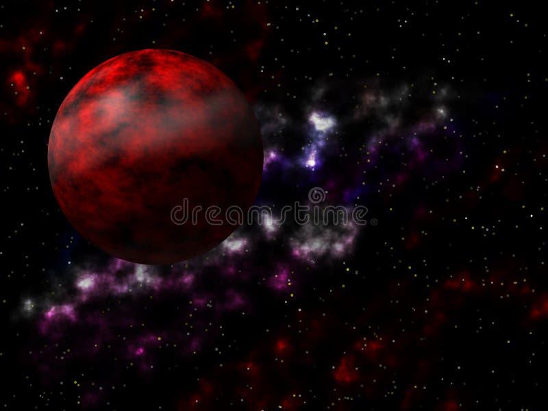 Разметьте scape и темноту - красную планету в вселенной бесплатная иллюстрация