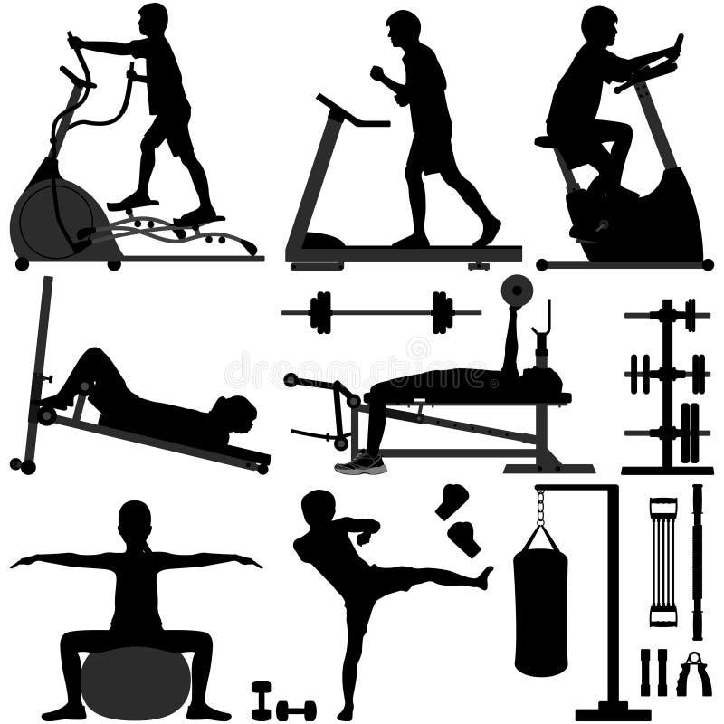 разминка человека спортзала гимнастики тренировки иллюстрация штока