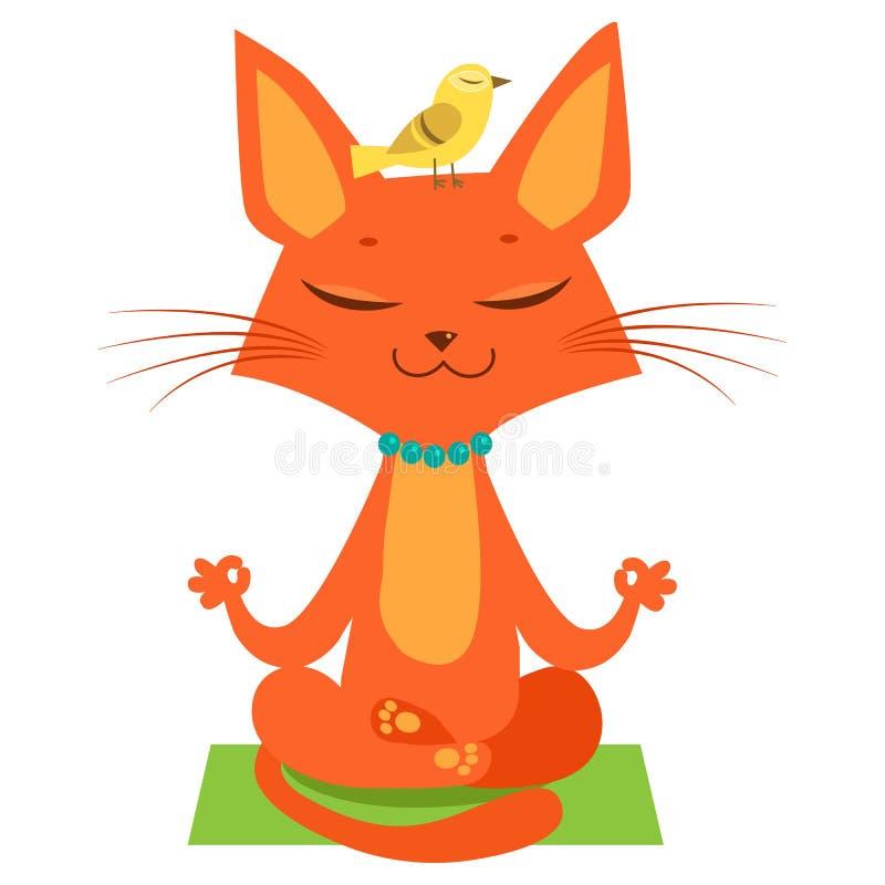 Размышлять вектор кота йоги Йога смешного кота шаржа практикуя Соедините в встрече йоги бесплатная иллюстрация