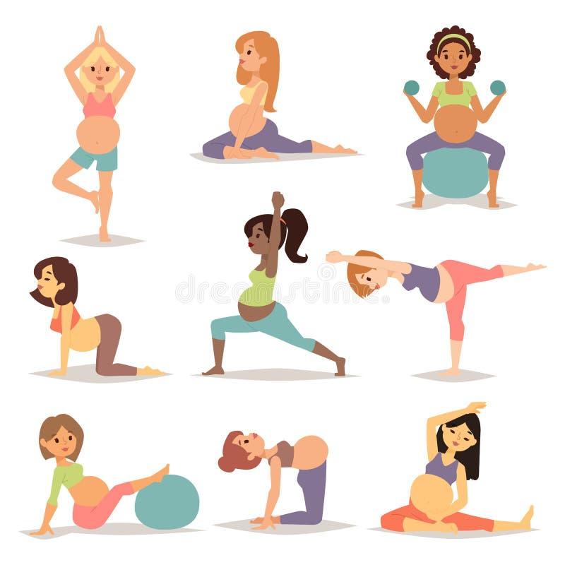 Размышлять на беременной женщине материнства размышляя пока сидящ йога расположите вектор характера образа жизни фитнеса здоровый иллюстрация вектора