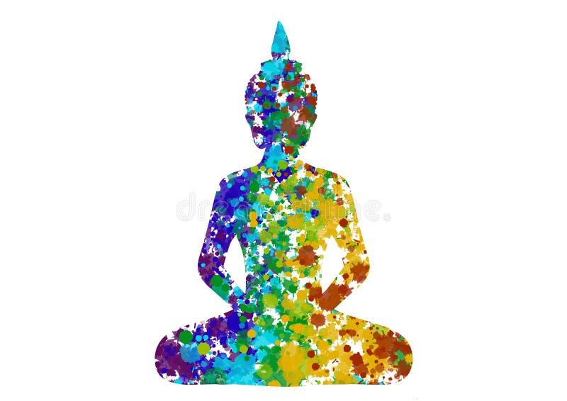 Размышлять позиция Будды в цветах радуги иллюстрация вектора