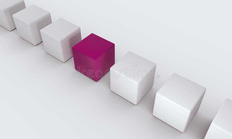 разница Кубики в рядке иллюстрация вектора