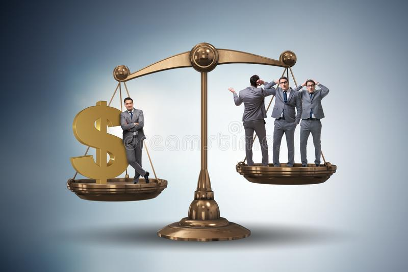 Разница между богачами и бедными человеками иллюстрация штока