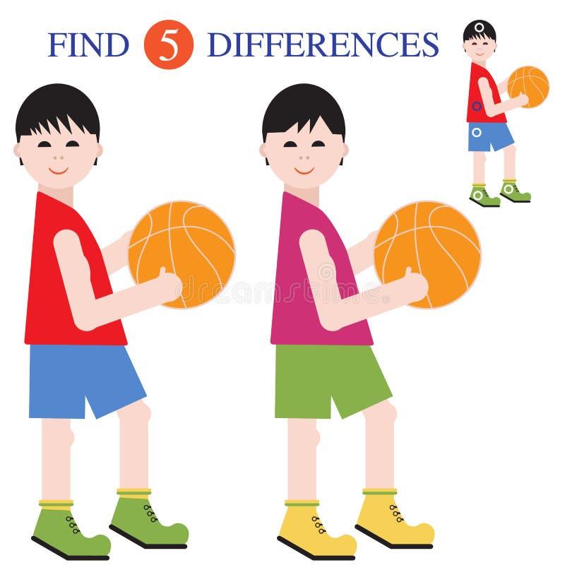 Разницы в находки 5 Воспитательные игры для детей иллюстрация вектора