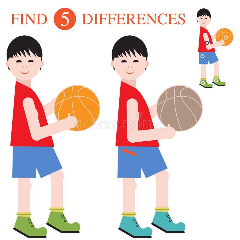 Разницы в находки 5 Воспитательные игры для детей иллюстрация штока
