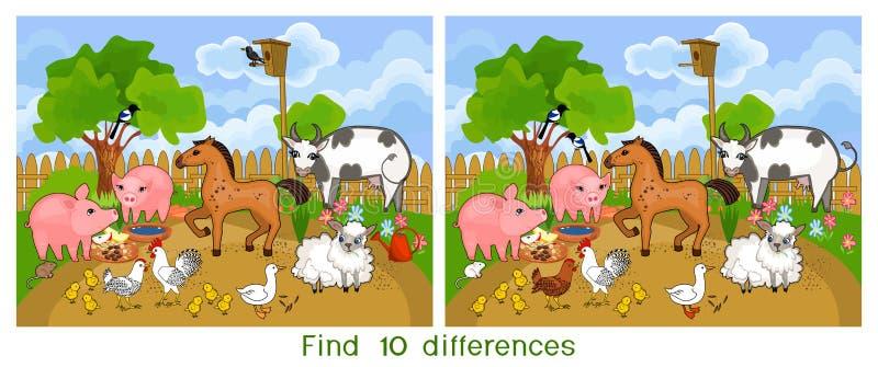 Разницы в находки 10 Игра для детей с животноводческими фермами иллюстрация вектора