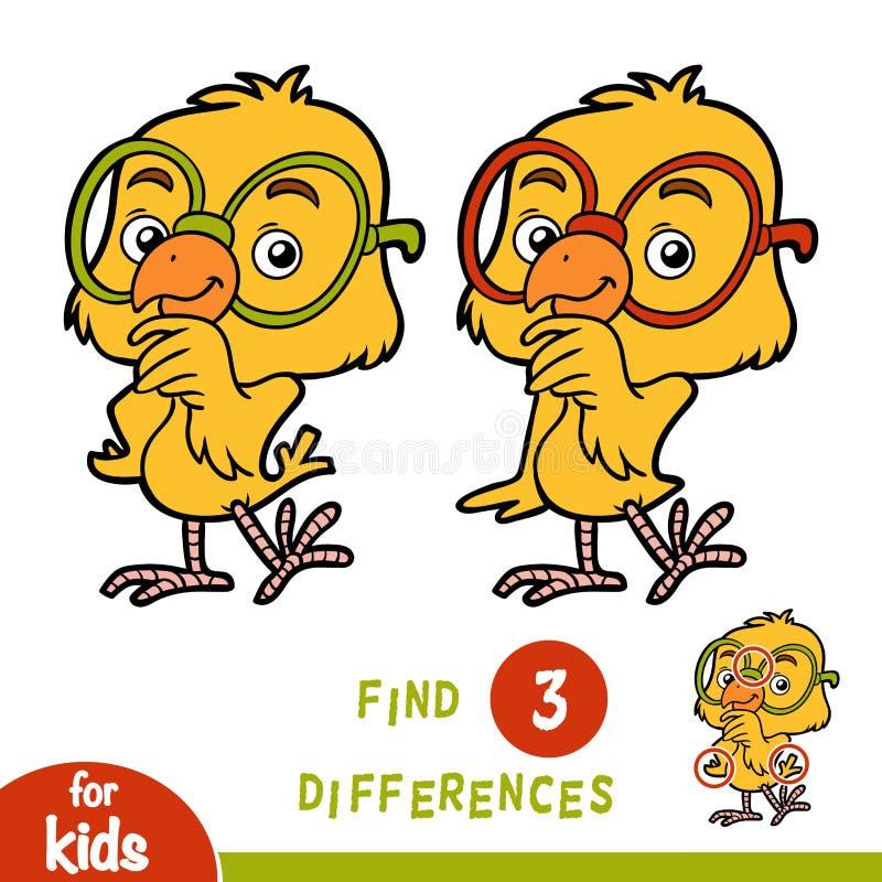 Разницы в находки, игра образования, цыпленок бесплатная иллюстрация