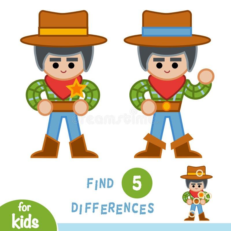 Разницы в находки, игра образования, шериф иллюстрация штока