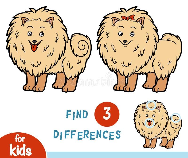 Разницы в находки, игра образования, Pomeranian иллюстрация штока