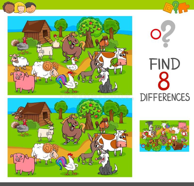 Разницы в находки с характерами животноводческой фермы иллюстрация вектора