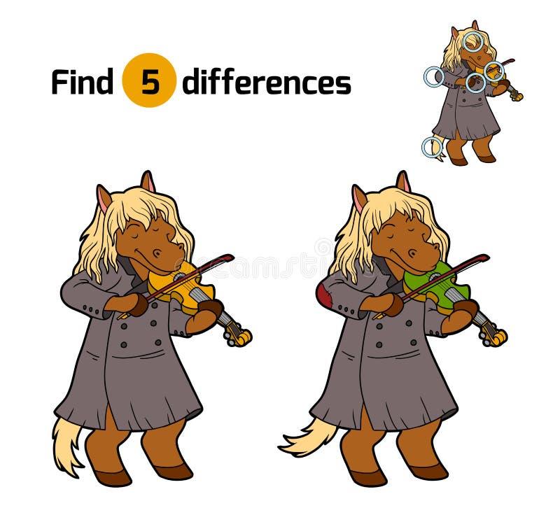 Разницы в находки, игра для детей (лошадь и скрипка) иллюстрация вектора