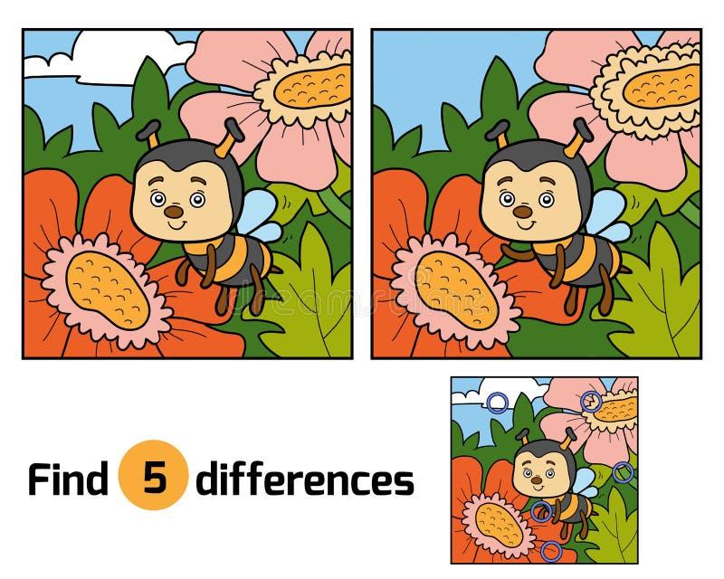 Разницы в находки, игра для детей (пчела и предпосылка) иллюстрация штока