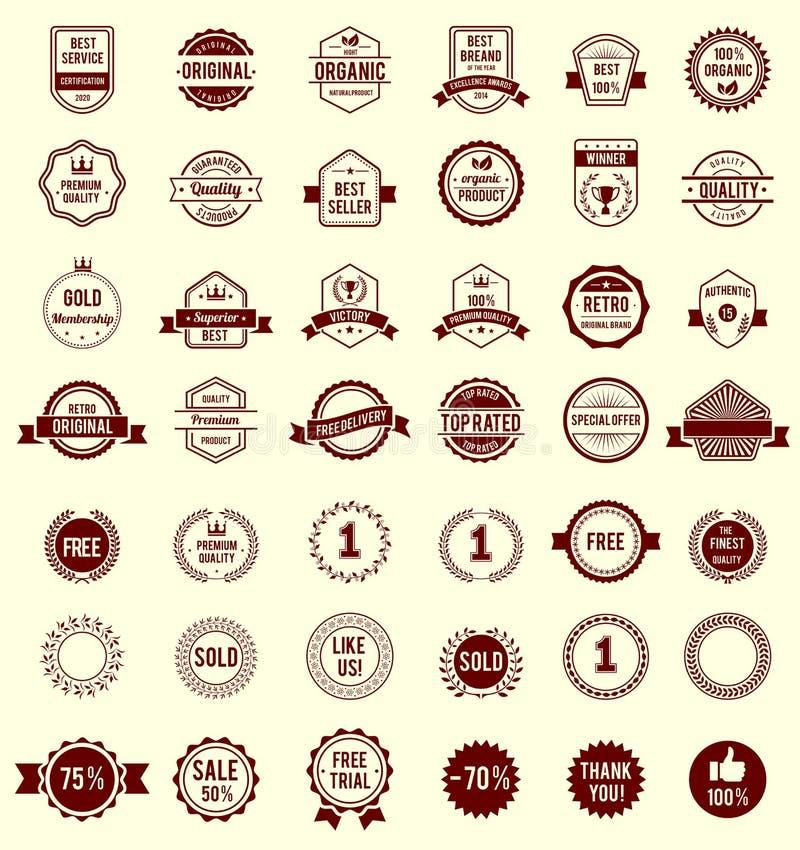 Разнообразие вектора конструирует ретро винтажные значки иллюстрация штока