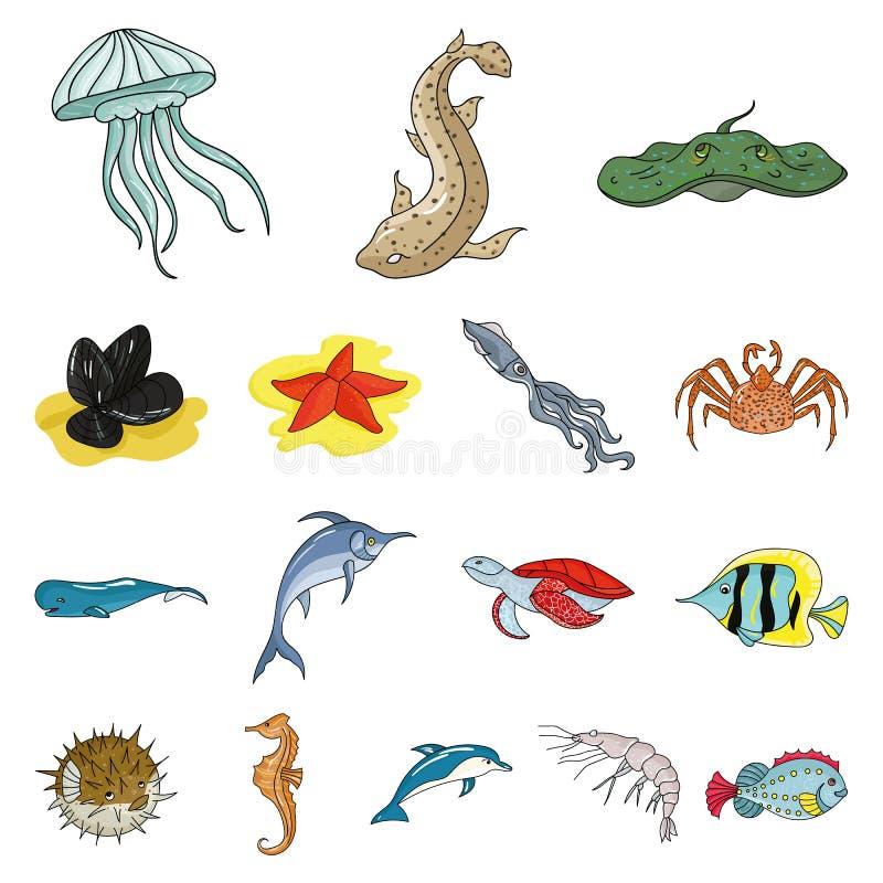 Разнообразие значки шаржа морских животных в собрании комплекта для дизайна Сеть запаса символа вектора рыб и моллюска иллюстрация штока