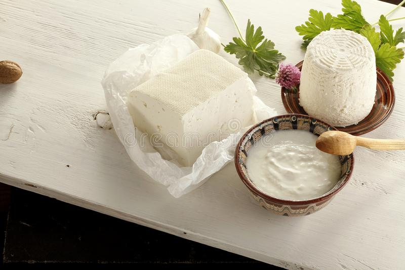 Разнообразие молочных продучтов, сыр, югурт, творог в t стоковые фото
