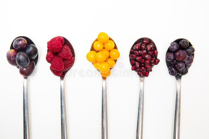 Разнообразие свежих фруктов на серебряных ложках на белой предпосылке включая ягоды и гранатовые деревья стоковое изображение