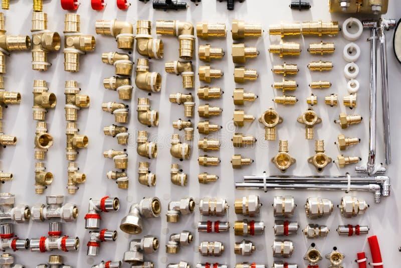 Разнообразие соединители трубы трубопровода, углы, штуцеры, ниппели стоковое изображение rf