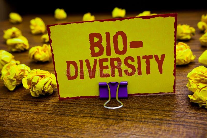 Разнообразие текста сочинительства слова био Концепция дела для разнообразия зажима среды обитания экосистемы фауны организмов жи стоковые фотографии rf