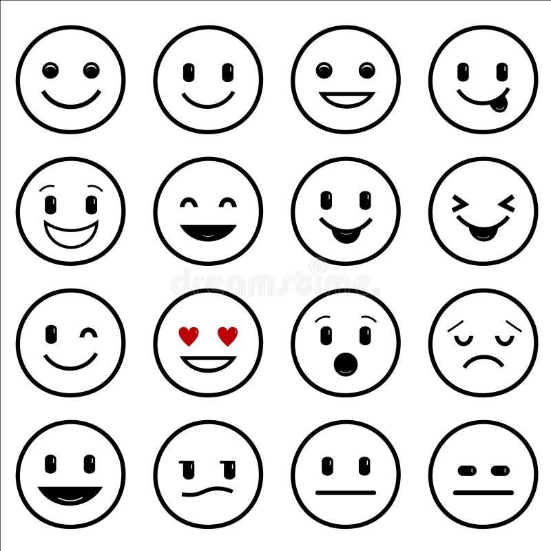 Разнообразие улыбок вычерченная сеть икон руки иллюстрация вектора