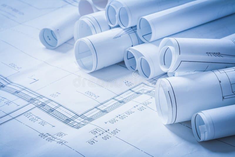 Разнообразие чертежей конструкции инженерства стоковое изображение