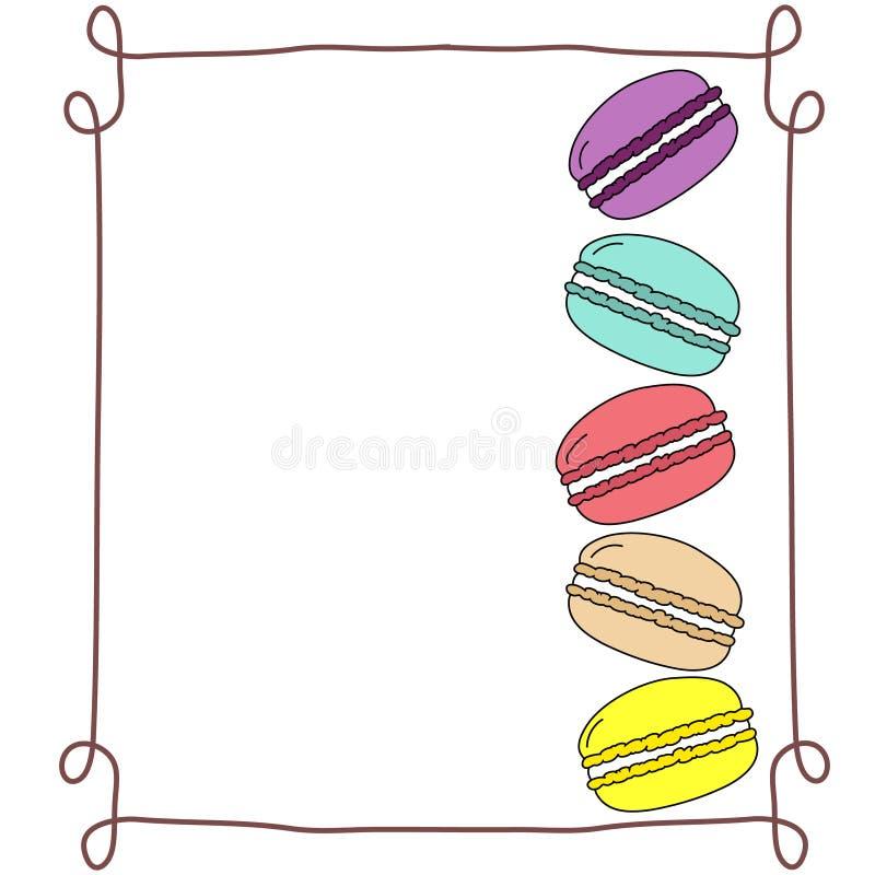Разнообразие штабелированных multicolor macaroons вектора doodle в рамке нарисованной рукой винтажной, космосе экземпляра, насмеш бесплатная иллюстрация